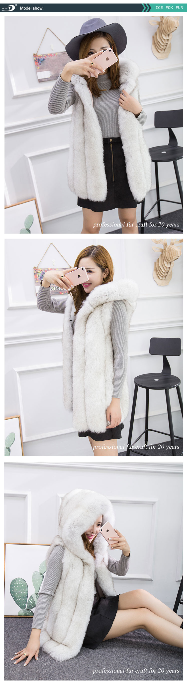 Fox Waistcoat Genuine Women The New 2020 Fashion Natural Fur Real Vest