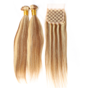 Luxefame Brazilian Hair Piano Color P8/613 3 Bundles Straight Wave Ombre Blonde Human Hair Weave Ash Brown Hair With Highlight