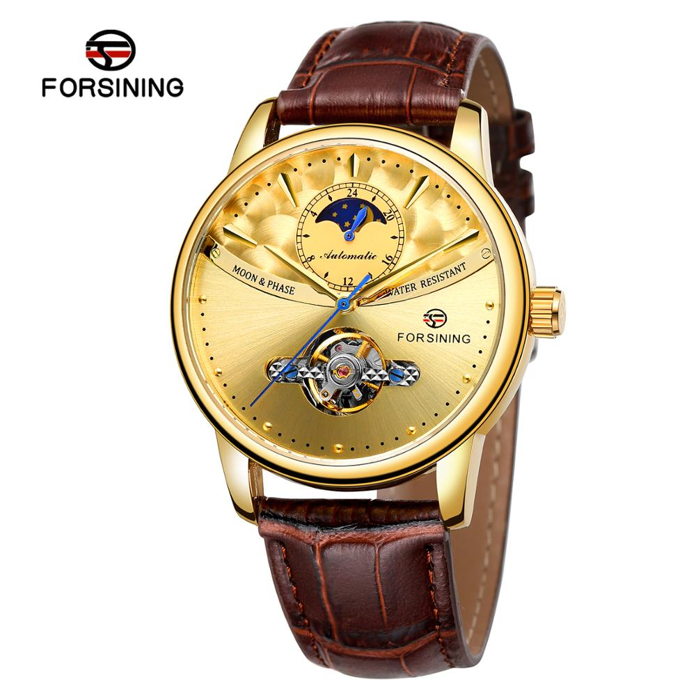 2019 Forsining Factory Genuine Leather Tourbillon Automatic Watches Mens Luxury Flying Moon Phase Tourbillion Mechanical Watch