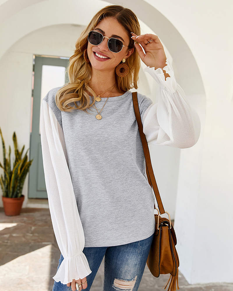 2020 New Arrivals Round neck Long Sleeve ruffle sleeve Fashion T-shirt <strong>Cotton</strong> <strong>ladies</strong> top <strong>blouse</strong>