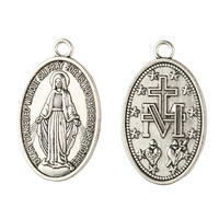 Religious stainless steel Vintage Miraculous Medal Pendant antique silver plated oval shaped virgin mary pendant
