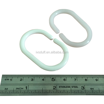Ivoduff White Plastic Shower Curtain Hook Bath C Type Curtain Glide Hanger Bathroom Hanging Hooks