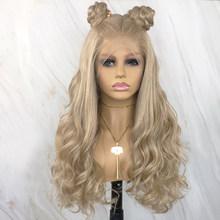 Красивый дневник длинные волнистые парики Futura волосы 13х6 синтетический парик фронта шнурка для черных женщин светлые парики с естественной...(Китай)