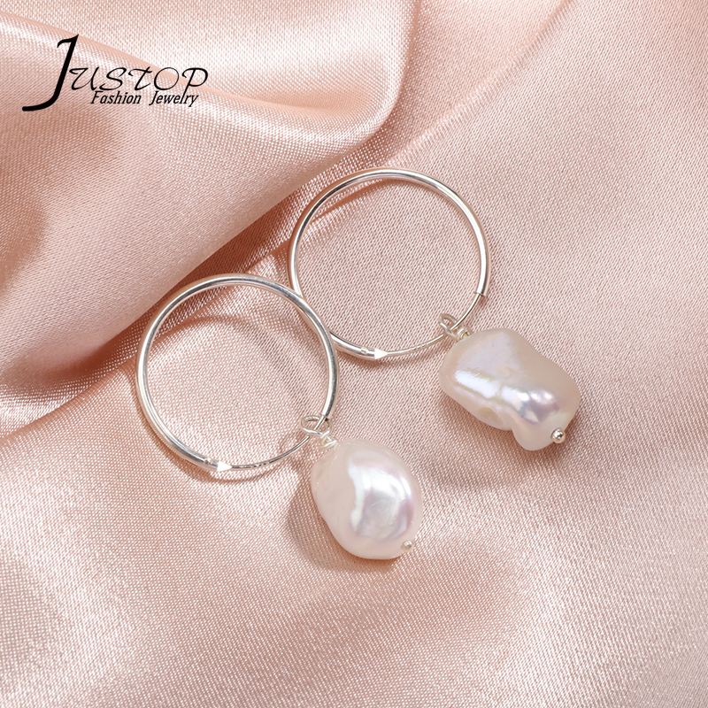 Natural Baroque Freshwater Pearl <strong>Drop</strong> <strong>Earrings</strong> 925 <strong>Sterling</strong> <strong>Silver</strong> Women Pearl Charm Jewelry