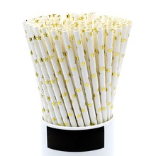 Wholesale Drinking Eco Gold Foil Paper Straws Paper Straws Star Cocktail