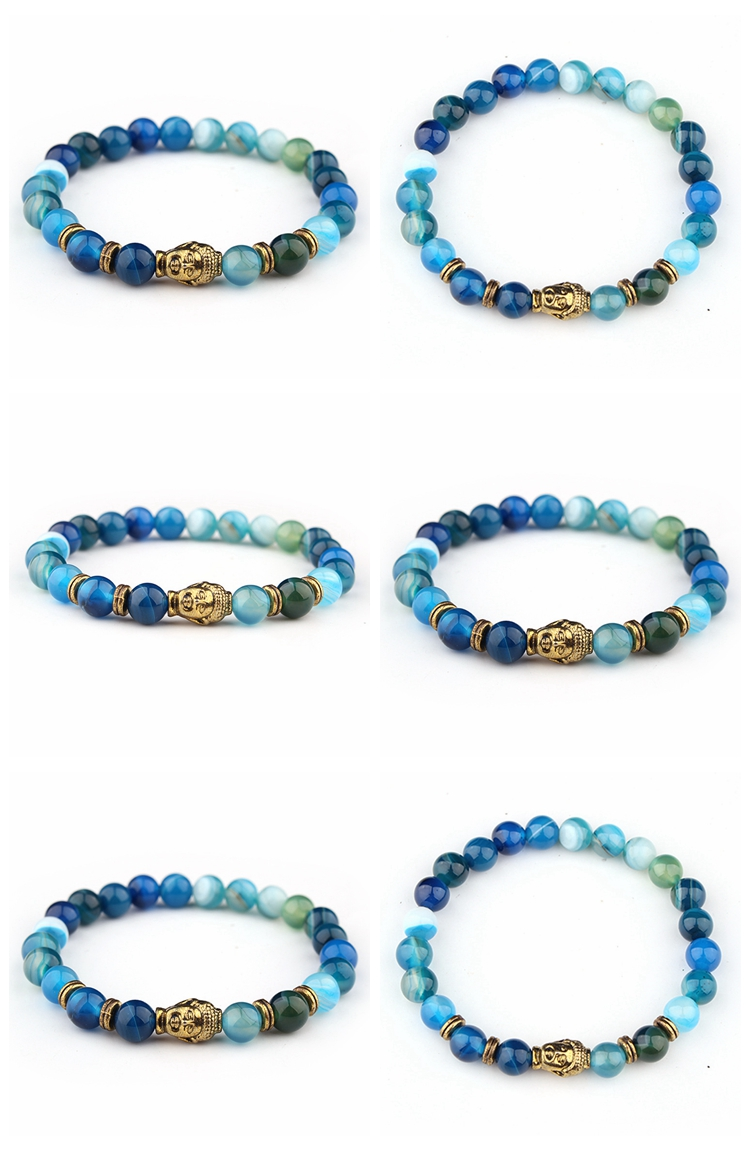 2019 wholesale Nepal trendy luxury vintage metal buddha lion tiger moonstone lava rock beaded bracelets for men