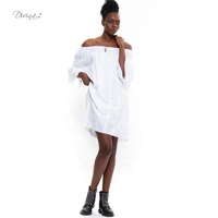 Italy Design Women Off Shoulder Flare Sleeve Hollow Out Short White Dress