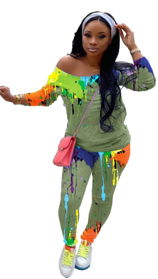 YFS3570 хит продаж, осень 2020, новый укороченный топ с принтом граффити и штаны, сексуальный комплект из 2 предметов, комплект из двух предметов, женская одежда