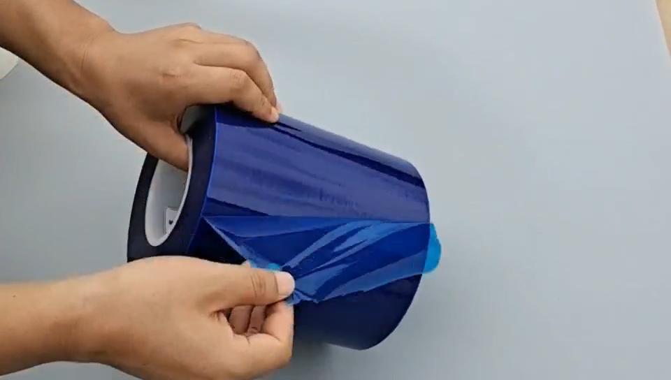Fabrik anpassen pe blau transparent mechanische schutz film für metall oberfläche