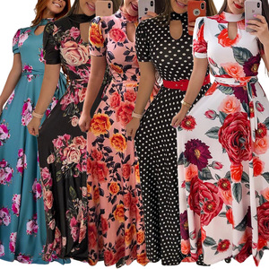 Women Summer Casual Long Dress Sexy Boho Floral Print Elegant Woman Maxi Dresses Plus Size Vestidos Y12351