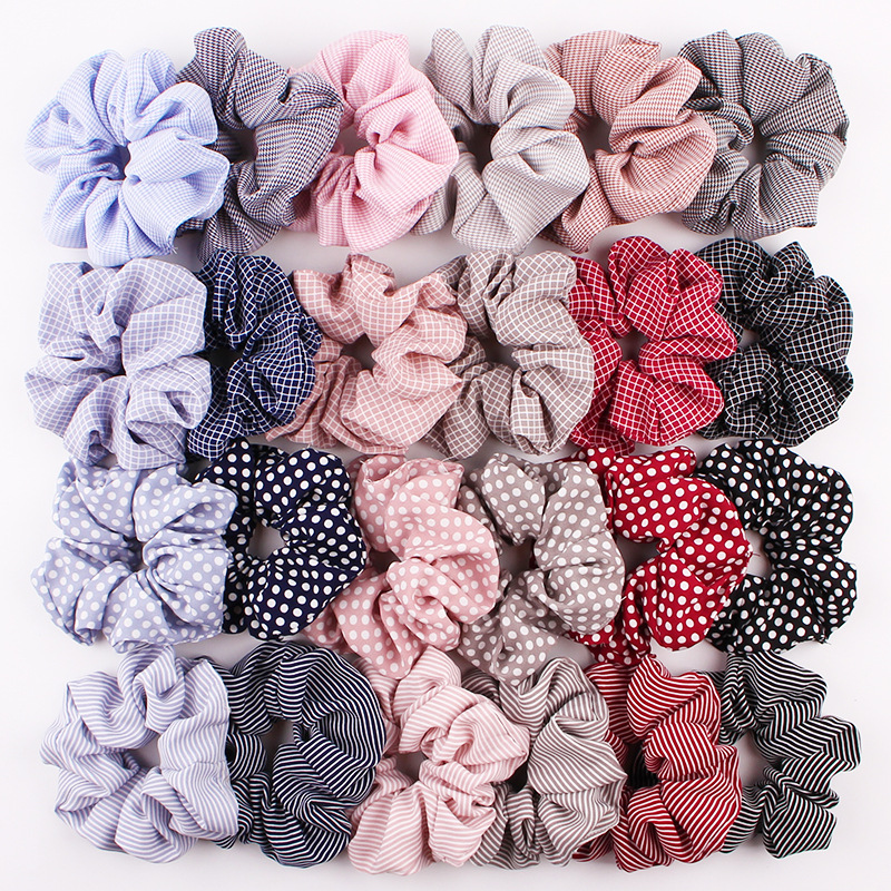 2020 hot sale factory wholesale hair accessories  women print line design synthetic  dot girls hair scrunchies