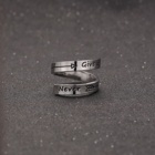 Titanium Ring Rings Ring Ring Ring Titanium Steel Simple Ring Letter NEVER GIVE UP Double Layer Rings For Friends