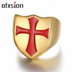 AFXSION New style red enamelled cross Italian soldier gold or silver plated rings jewelry