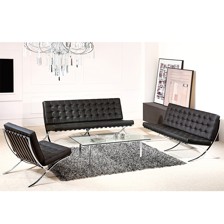 Modern classic Stainless Steel italian Hotel leather sofa