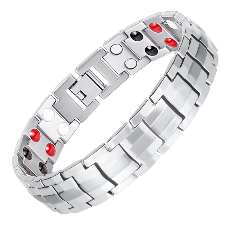 Double Line 4 in 1 Health <strong>Energy</strong> Stainless Steel Bio <strong>Magnetic</strong> Bangle <strong>Bracelet</strong> for Man