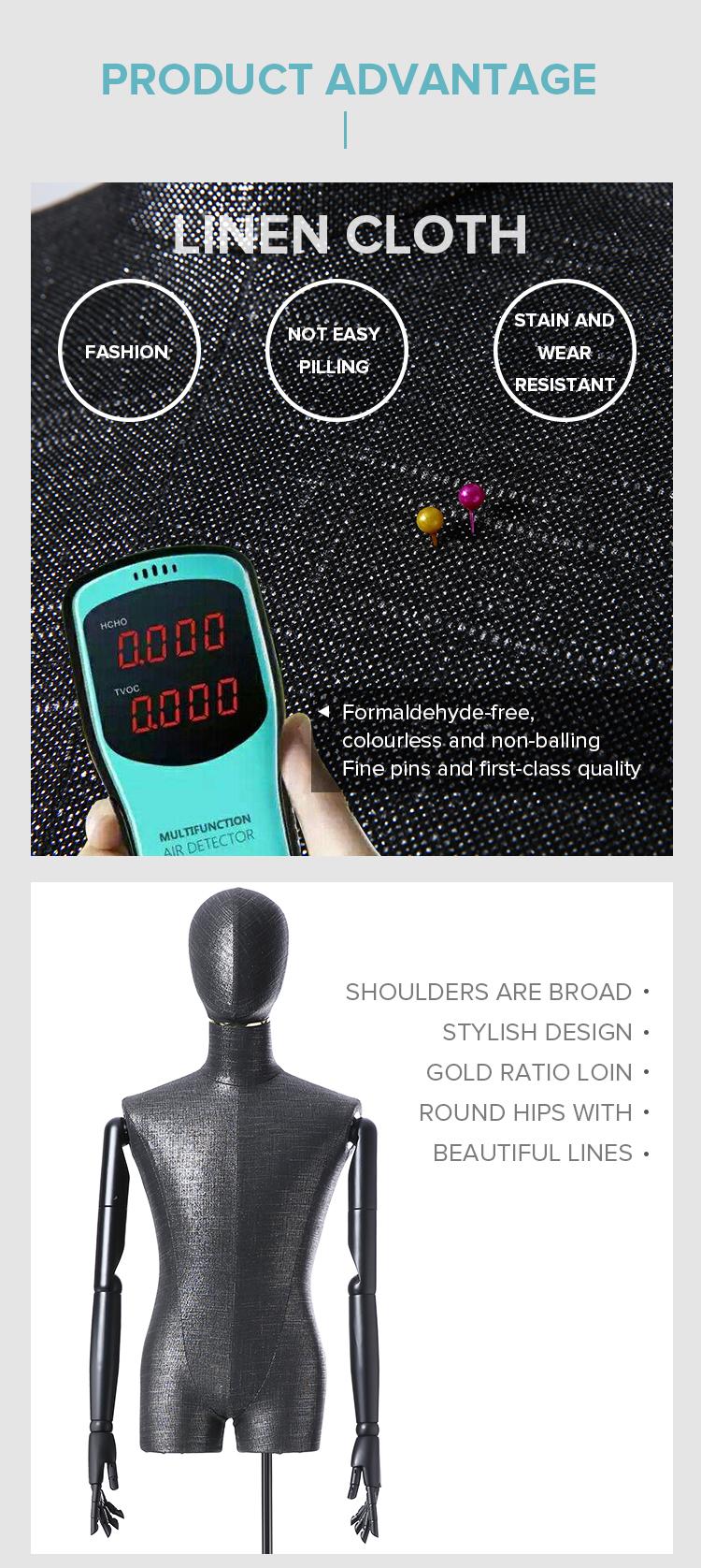 Inggris Gudang Disesuaikan Menyesuaikan Manekin Penjahit Boneka Dijual Hitam Manekin Kepala Torso Tampilan Model untuk Butik