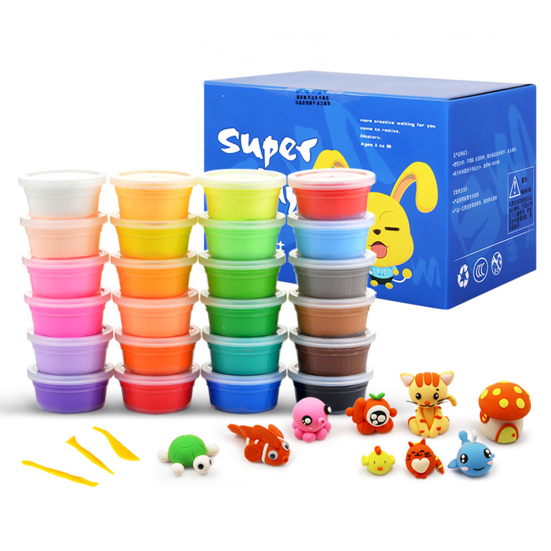 2020 Amazon Hot Selling Kids Color Clay Kit Playdough Crystal Clay Bubble Gum Space Mud Slime Toys