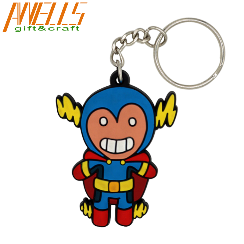 3D Custom Logo Embossed Rubber Keychains Personalized 2D Design Soft PVC Cartoon Keyring