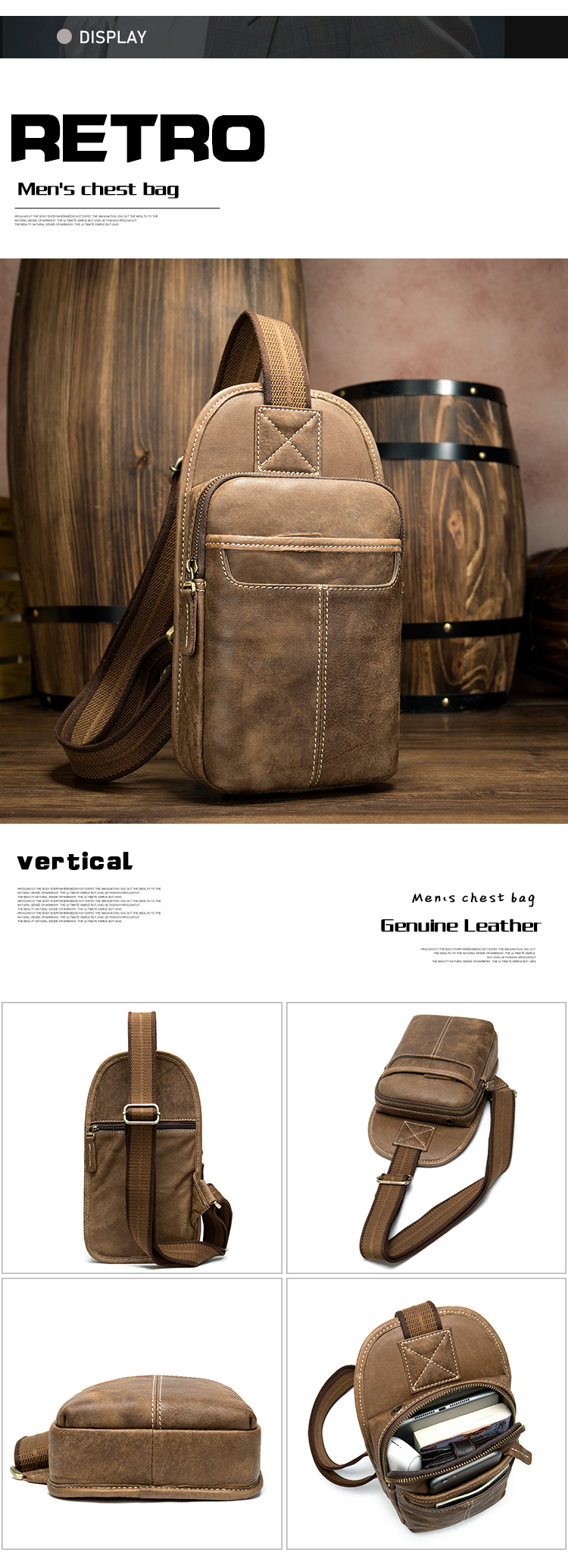 Custom Logo 8949 Men Single Shoulder Bag Pack Waterproof Cross Body Genuine Leather Small Sling Sports Chest Bag for Boys