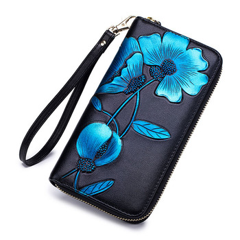 2019 hotsale women long genuine leather zipper purse