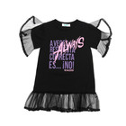 Printed [ Dress Girl Dresses ] Girls Children's Letter Printing In Childhood Fashion Lace Sleeve Dress Baby Girl Dresses