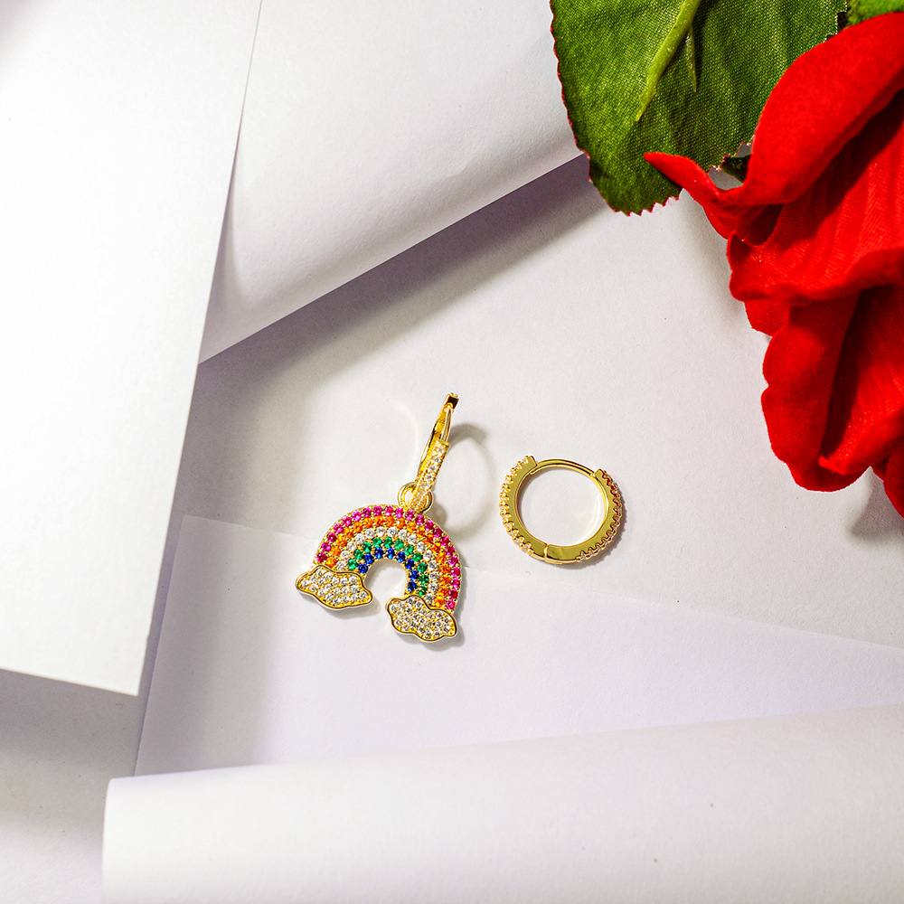 सैफ थोक अच्छी 925 चांदी सुई मिश्र धातु कोरियाई नई लोकप्रिय फैशन मीठा महिलाओं के लिए इंद्रधनुष कान की बाली उपहार