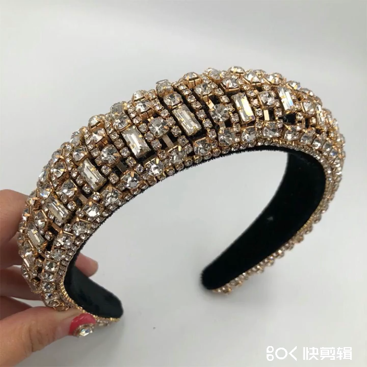 Ikat Rambut Kristal Kaca Barok Eropa dan Amerika Berlian Besar Fashion Rambut Sehari-hari
