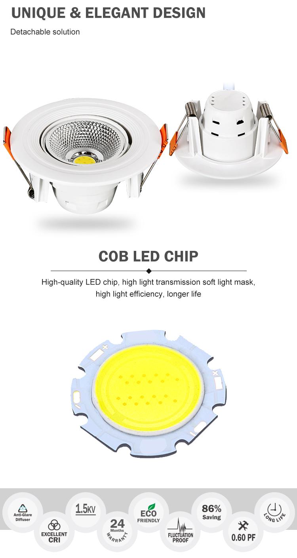 באיכות גבוהה מקורה תאורה שקוע להסרה מתכוונן זווית ABS cob 3W led למטה אור