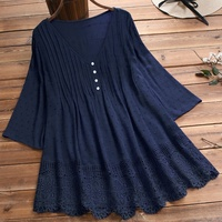 Long Tunic Dark Blue Lace Hem Linen-Blend Button-Front Tunic Women