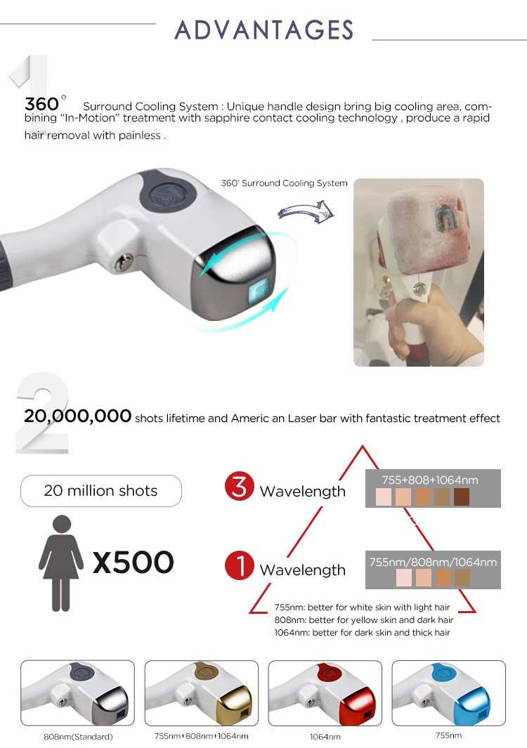 Diode laser hair removal Machine Permanently Hair Removal Machine 755 808 1064nm 3 Wavelength