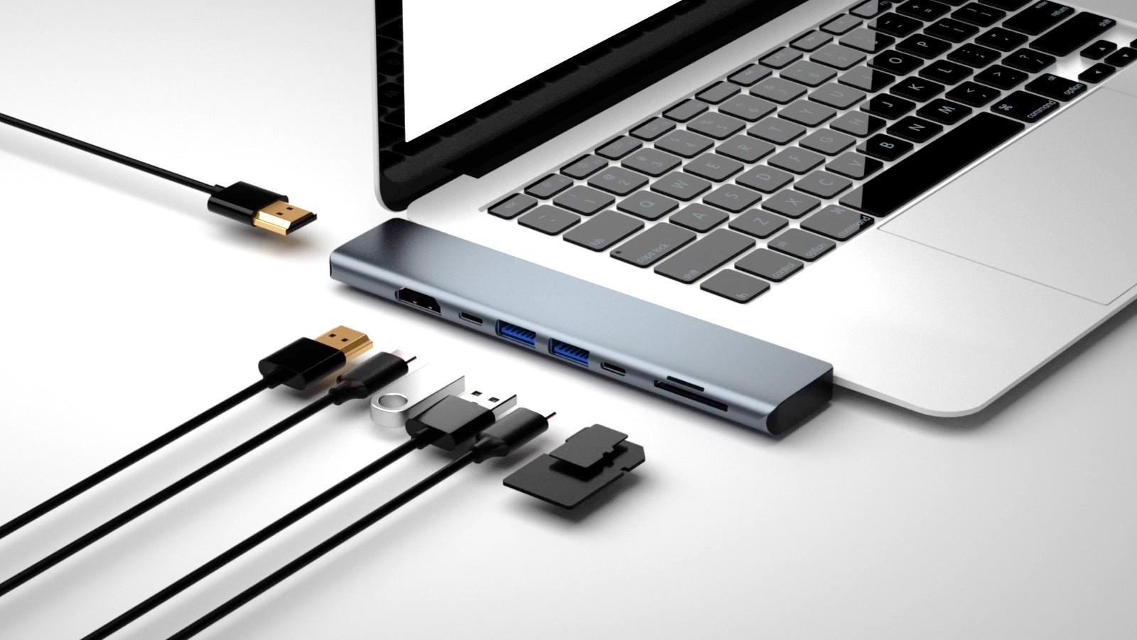 EC-T2001 8 menjadi 2 Multi Port Docking Station Type c Hub USB Hub PD Adapter dengan USB3.0 Layar HDMI TF/Kartu SD