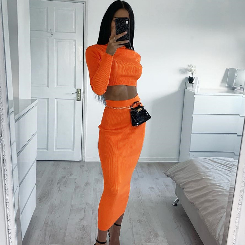 Two Piece Set Sexy High Neck  Long Sleeve Crop Top High Waist  Bodycon Long Skirt  Girl