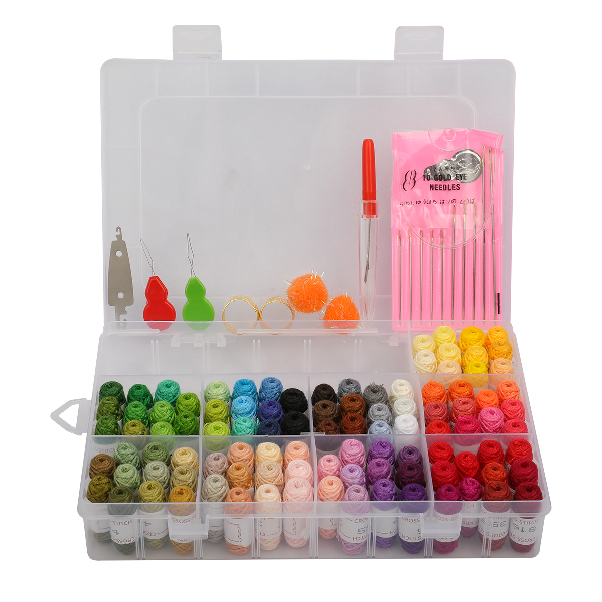 100 random colors Embroidery thread Cross Stitch Thread Embroidery kit with Organizer Storage Box