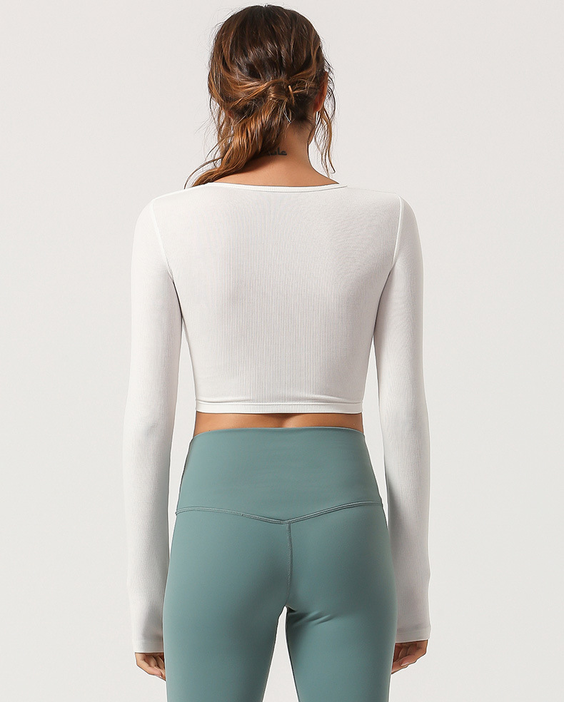 Custom Private Label Elastic Long Sleeves Women's Seamless Fitness Padded Nylon Yoga Top
