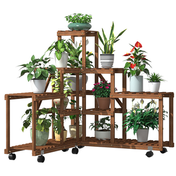 hot sale multi layer 5 tier solid wooden flower plants pot stand shelves for outdoor garden