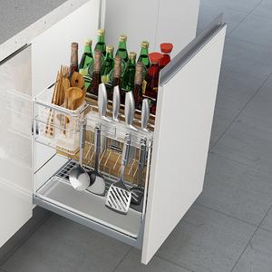 Modern Design Kitchen Multi-Purpose Spice Pull Out Seasoning Drawer Wire Basket