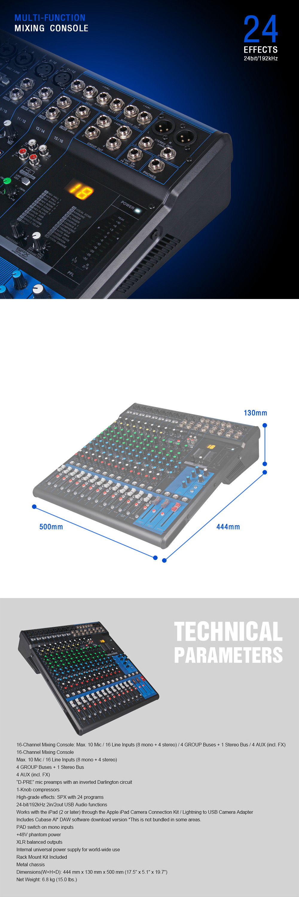 Professional audio mixer console 16 channel for stage performance or wedding