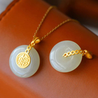 Fashion design jade necklace pendant round pendant necklace jewelry