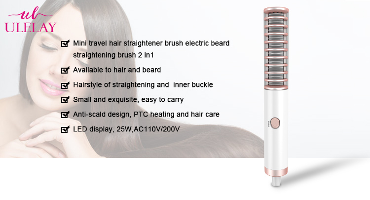 2019 Hot travel PTC Ceramic Plate  mini hair straightener with LED display  hair straightening machine with price