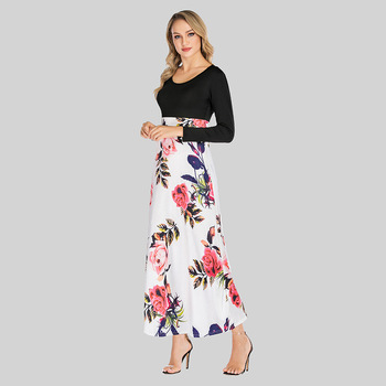 2019 autumn flower elegant long sleeve long dress sexy plus size xxxxxl 5xl elegant casual women dresses
