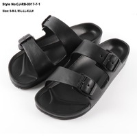 Eva flat slide korean men rubber leather slippers women