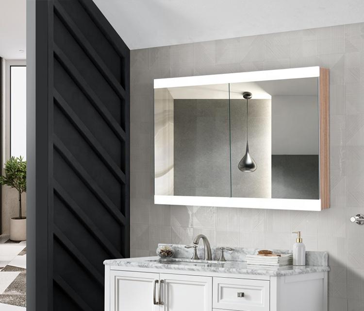 Anti-Fog Led Lighting Mirror Furniture Cabinets Bathroom Storage Mirror Cabinet With Shaver Socket