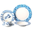 Factory supply blue design new bone china 20pcs dinner set on glaze design
