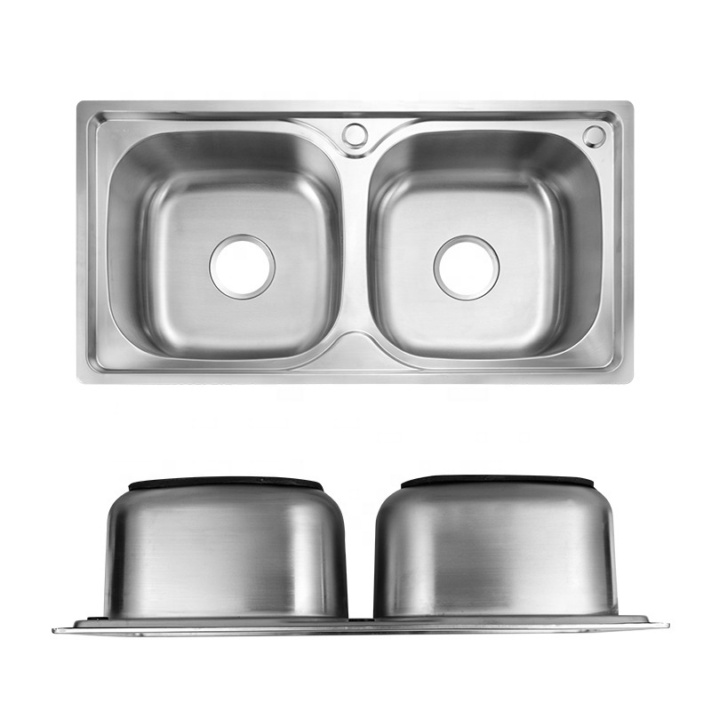 Myanmar Vietnam Mid-East Latin America Russia Cheap Electric Finish Stainless Steel Double Bowls Kitchen Sinks