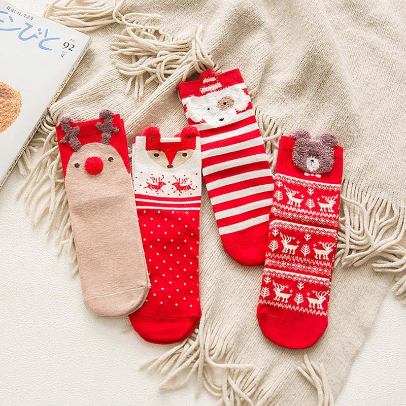 1 Pair Cotton Christmas Socks 2019 Christmas Gifts Happy New Year Merry Christmas Decoration For Home Navidad 2020