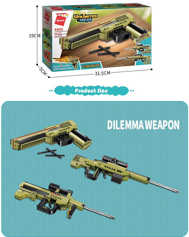 Qman 202 Pieces Dilemma Weapon Building Blocks plastic gun toy china for kids
