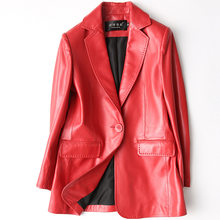 Женская куртка из натуральной кожи Boollili, черная и красная куртка из овчины в Корейском стиле, Jqackets, Женский блейзер, Chaqueta Cuero Mujer, 2020(Китай)