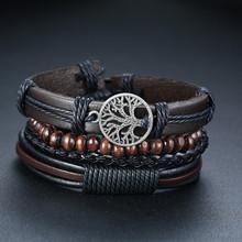Vnox Mix 3-4 шт/набор плетеные кожаные браслеты для мужчин и женщин старинный покерный Шарм деревянные бусины Этнические браслеты(Китай)