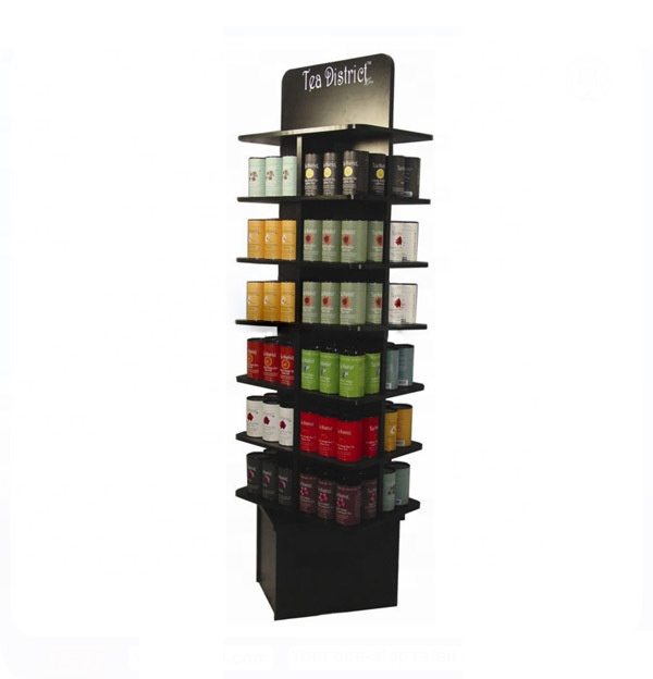 Freistehende POS layered einzelhandel Kaffee metall display racks Chinesischen tee pop up regal display
