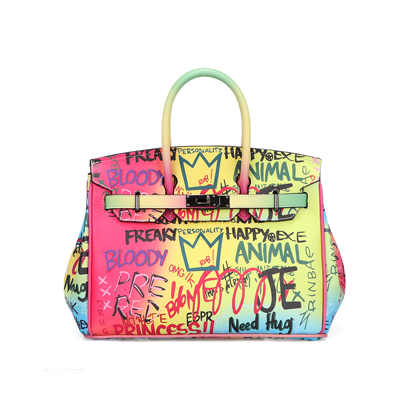 2019 Custom Brand <strong>Designer</strong> Handbags Women Characters Graffiti Large Tote Leather Bag Manufactures Wholesale